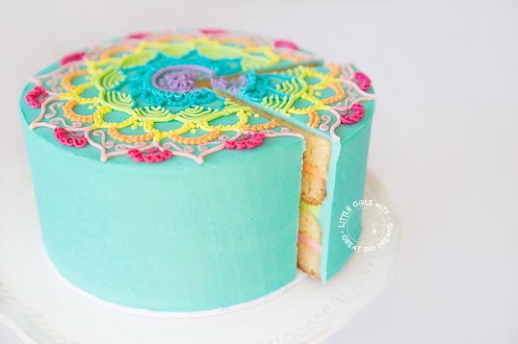 mandala cake cut